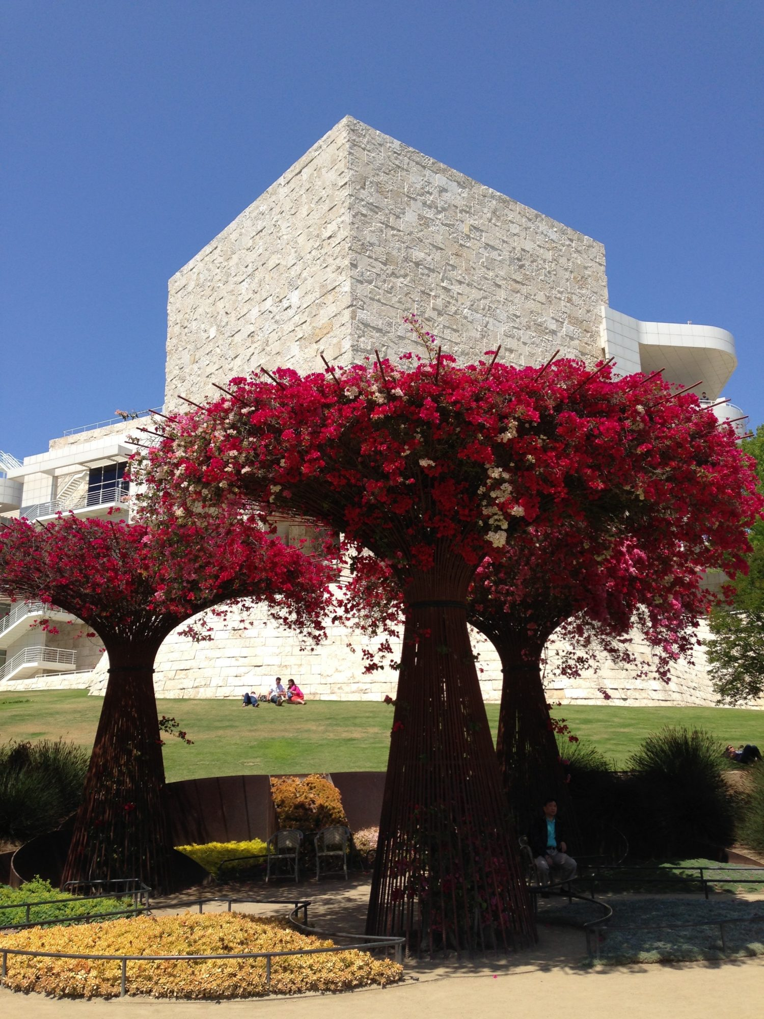 Red Trees in front of The Getty Museum